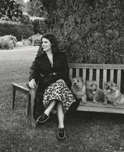 Princess Eugenie wore ERDEM Brocade dress. Princes Beatrice and Princes Eugenie gave an interview for September 2018 edition of British Vogue