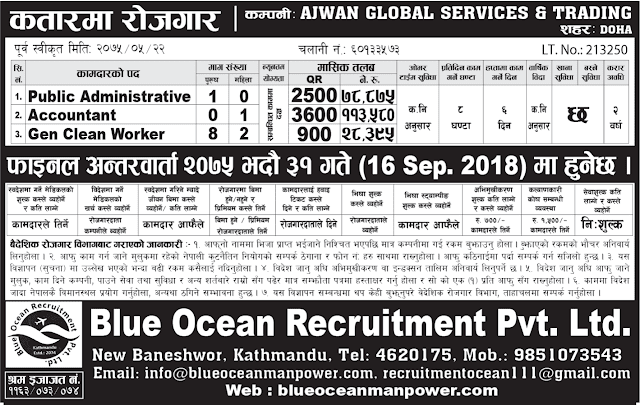 Blue Ocean Recruitment Pvt. Ltd. jagiredai