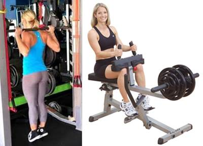 Ejercicio de elevación de pantorrillas de pie y sentada para mujeres