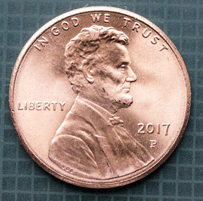 Obverse of 2017-P Shield Cent, Lincoln