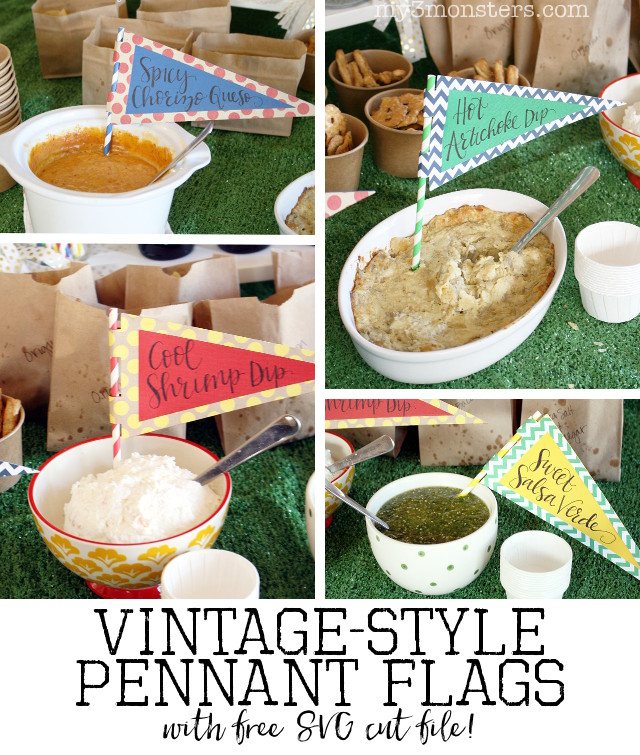 Create these Vintage -Style Pennant Flags from my3monsters.com out of decorative paper to add a little style to your next tailgate ot sports themed party!