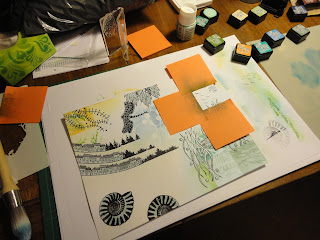 Ink colour added by grid area, masking with sticky notes