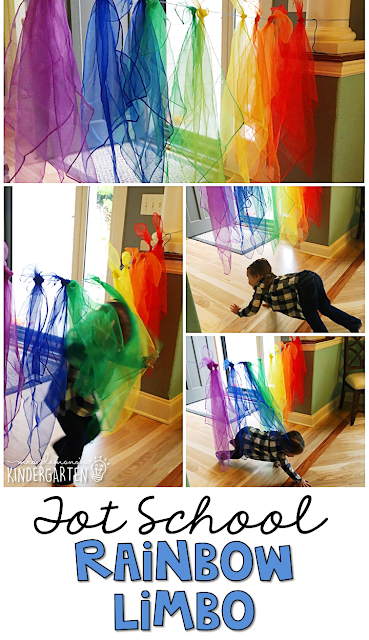 Learning is more fun when it involves movement! Have fun getting those wiggles out by crawling, bear walking, and running under the rainbow, with this gross motor activity, perfect for a weather theme. Great for tot school, preschool, or even kindergarten!