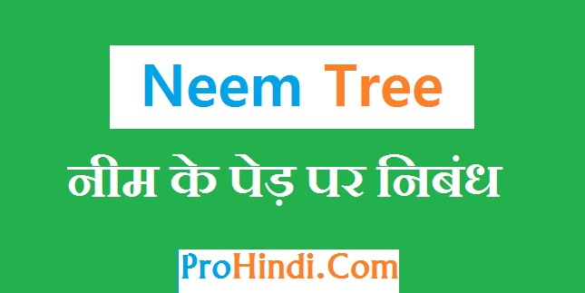 Essay On Neem Tree in Hindi