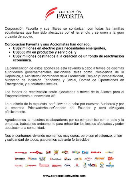 supermaxi donacion 4.5 millones terremoto ecuador