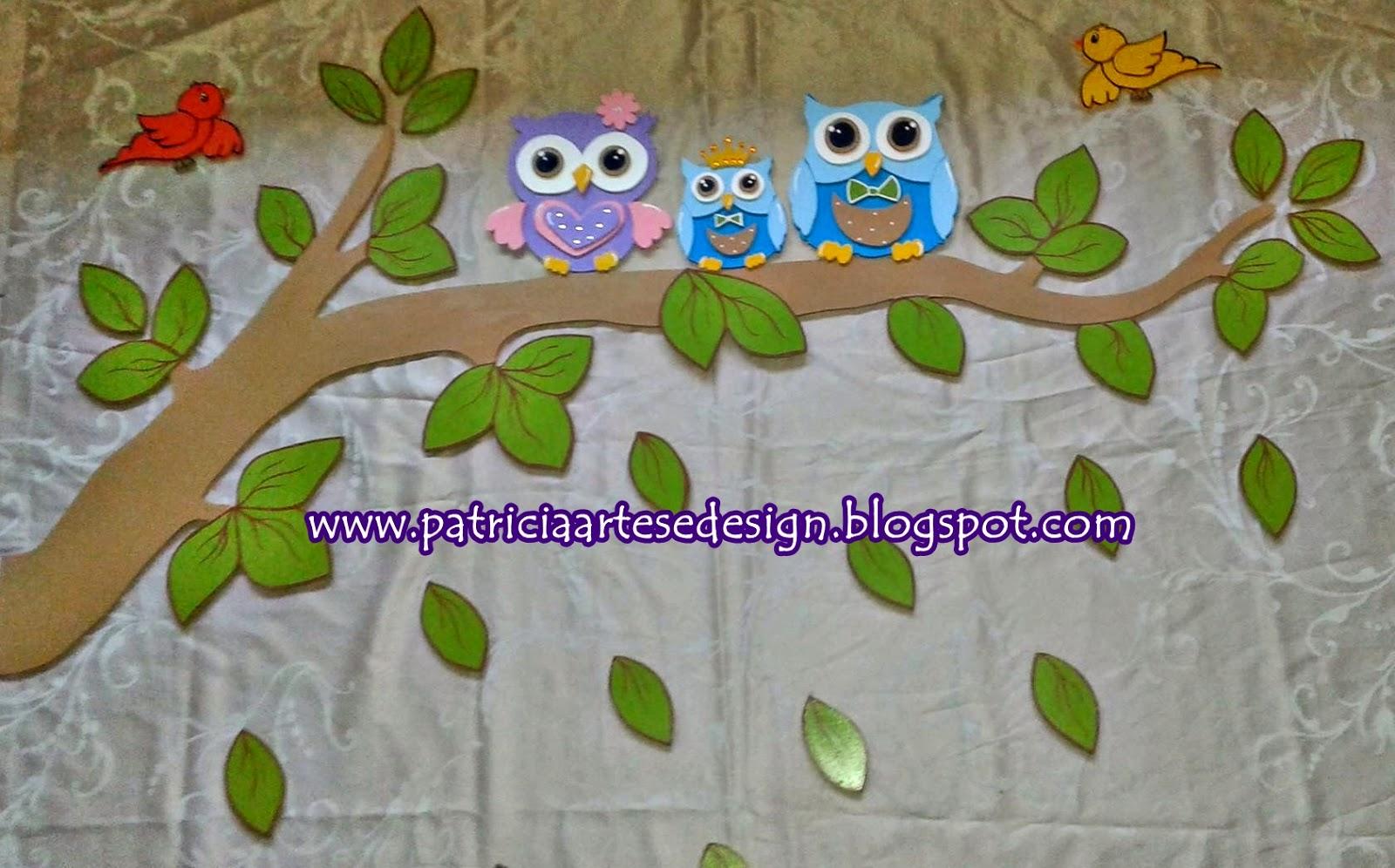 Patricia Artes e Design Painel Corujinha,Painel Coruja em MDF, Painel Coruji -> Decoracao Para Banheiro De Escola Em Eva