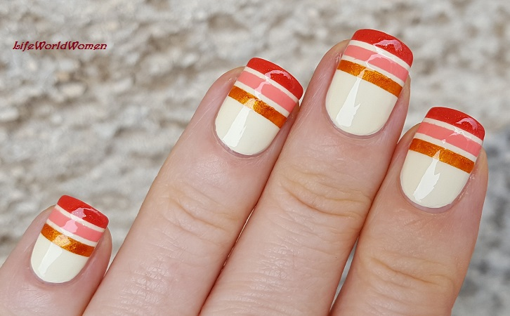 Life World Women: Striped Nail Art In Colors Of Fall Using Striping Tape