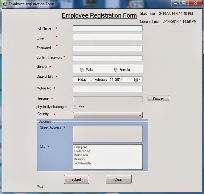 Registration form in AspNet / C#Net uisng 3-tier architecture