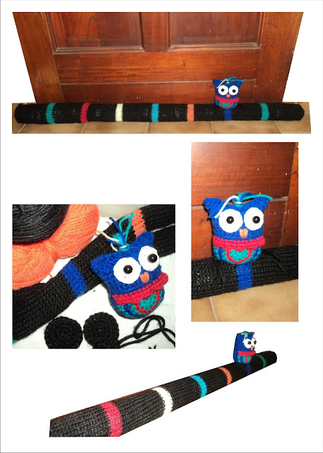 Tope o burlete tejido al crochet y dos agujas Búho
