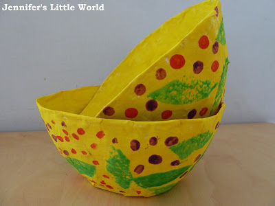 Papier mache gift bowls for Spring or Easter