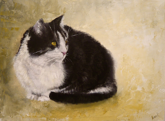 oil painting of a cat, crouching on a plain background
