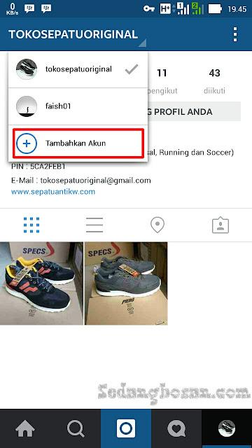 Klik Username Di Pojok Kiri Atas Kemudian Klik Tambahkan Akun Instagram Baru