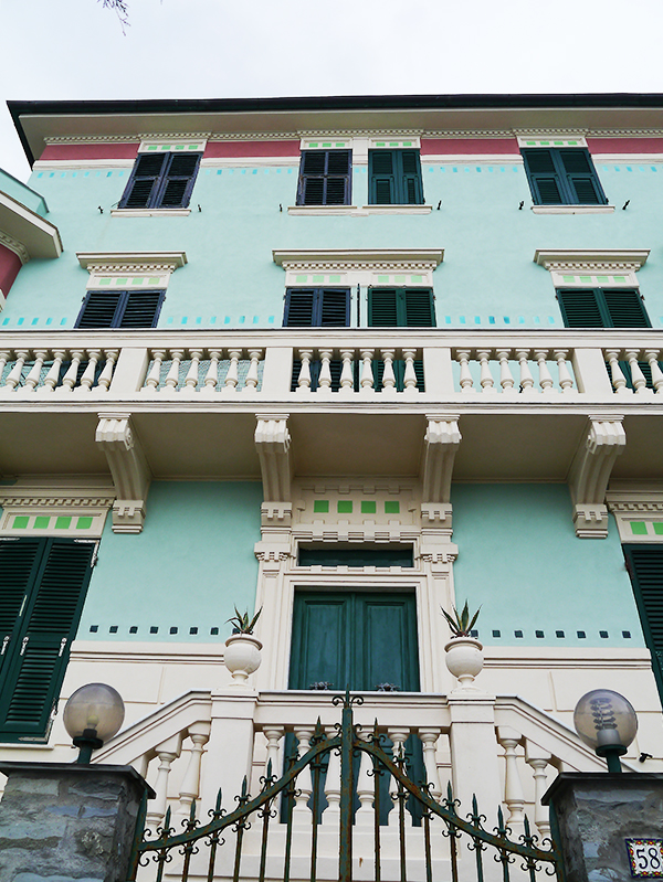Pale green and pink building in Monterosso al Mare, Cinque Terre, Italy