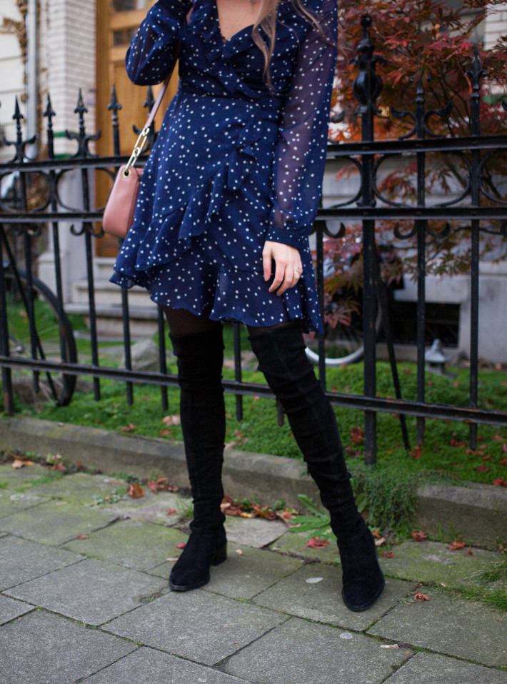 thigh high boots, star print dress
