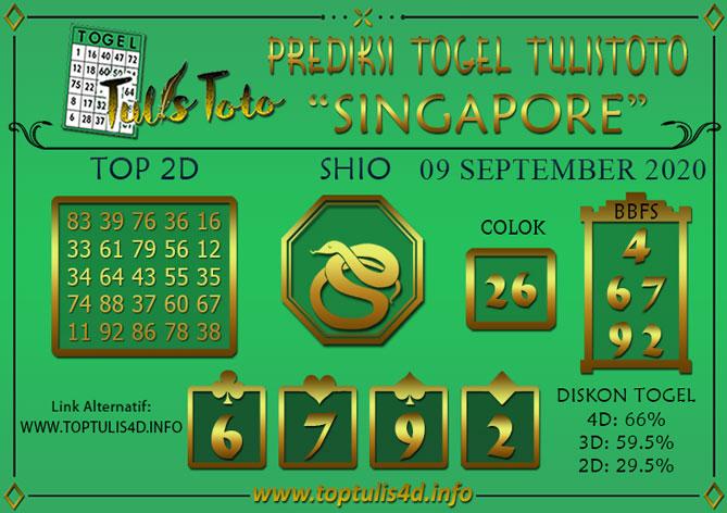 Prediksi Togel SINGAPORE TULISTOTO 09 SEPTEMBER 2020