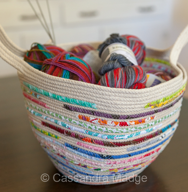 Contemporary coiled rope and fabric basket by Cassandra Madge