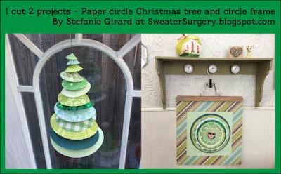 sizzix die cut circle christmas tree, paper christmas tree, circle scrapbook paper frame, stefanie Girard, die cut crafts