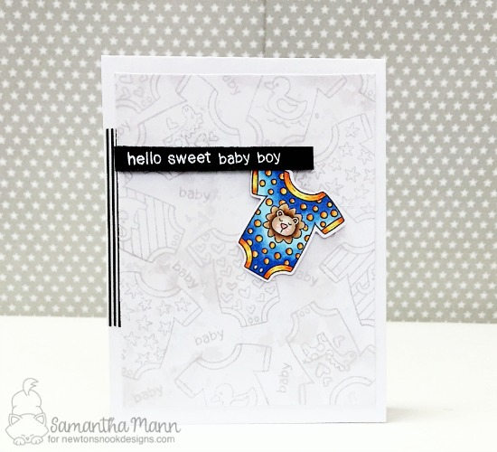 Hello Baby Onesie Card by Samantha Mann | Loveable Laundry stamp set and Stitched Onsie die set by Newton's Nook Designs #newtonsnook