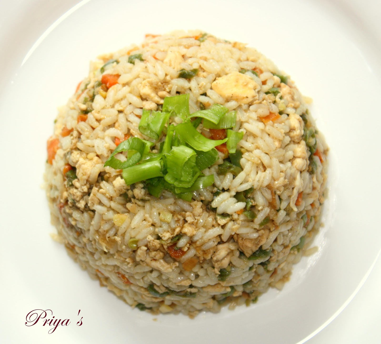 Chinese fried rice recipe with egg and chicken
