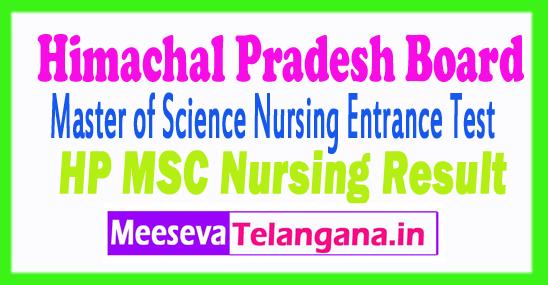 Himachal Pradesh Master of Science Nursing Entrance Test Results HPU M.Sc Nursing Entrance Test Result 2018