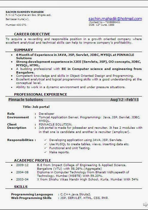 sample resume for 2 years experienced java developer - 6 month experience resume for software developer