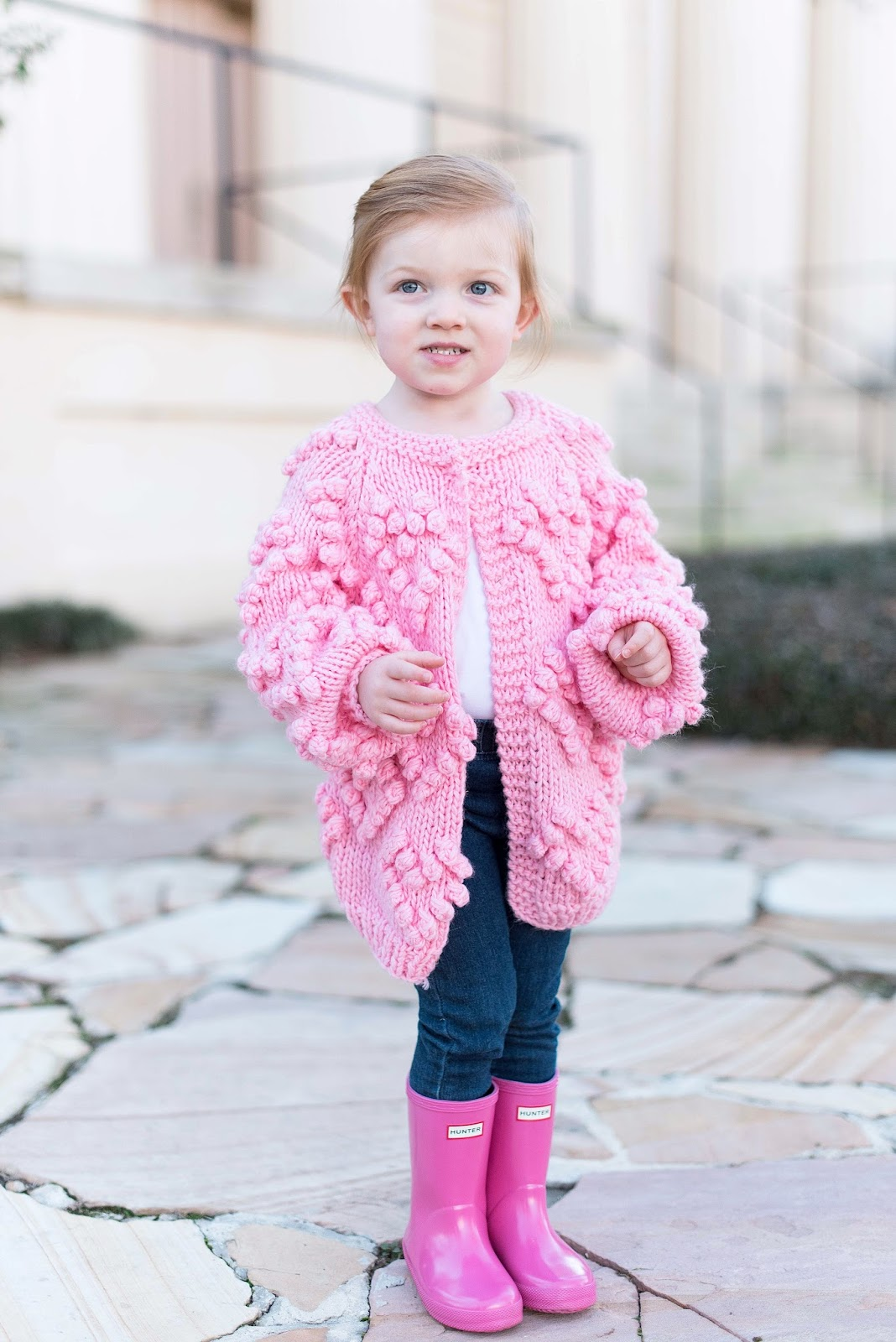 Heart Cardigan for kids + Pink Hunter Boots - All details can be found on Something Delightful Blog