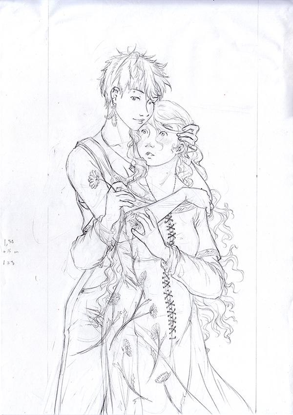 crayonné illustration yuri - fleur des champs et serpent à plumes