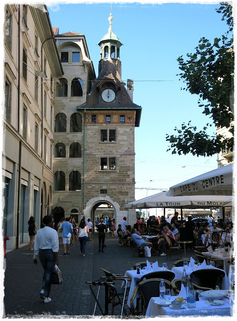 Geneva, Switzerland's Place du Molard and its tower, built in 1591.