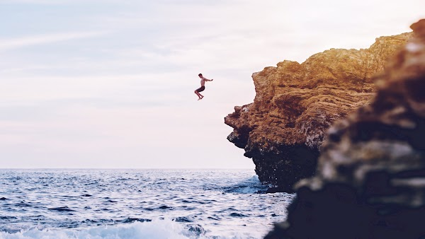 Jumping from Cliffs in the Ocean Waves