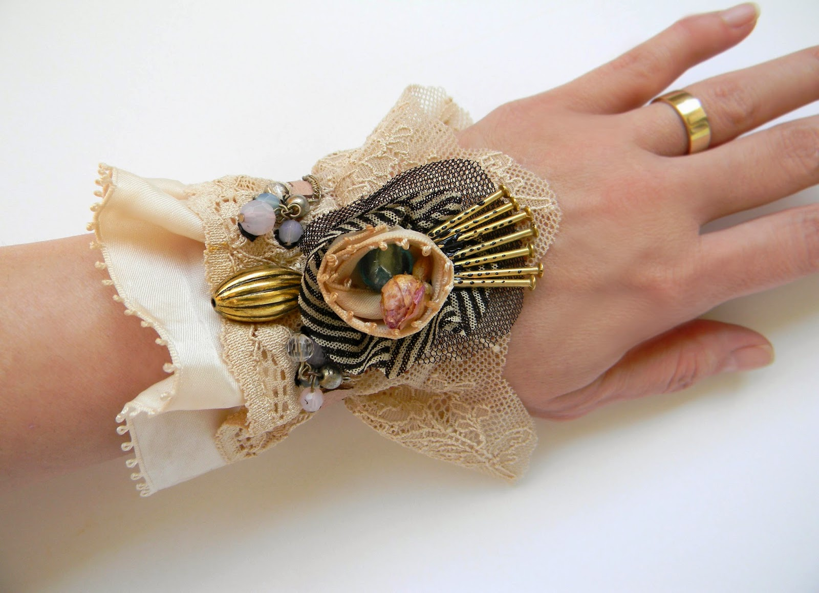 Eco Organic Wrist Cuff, Fiber Art Textile Bracelet with Rosebud and Glass Crystals Decor