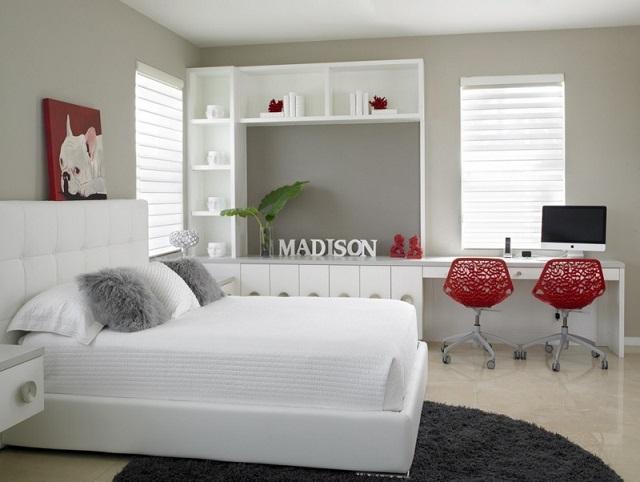 Habitaciones juveniles en rojo y gris dormitorios - Habitaciones color gris ...