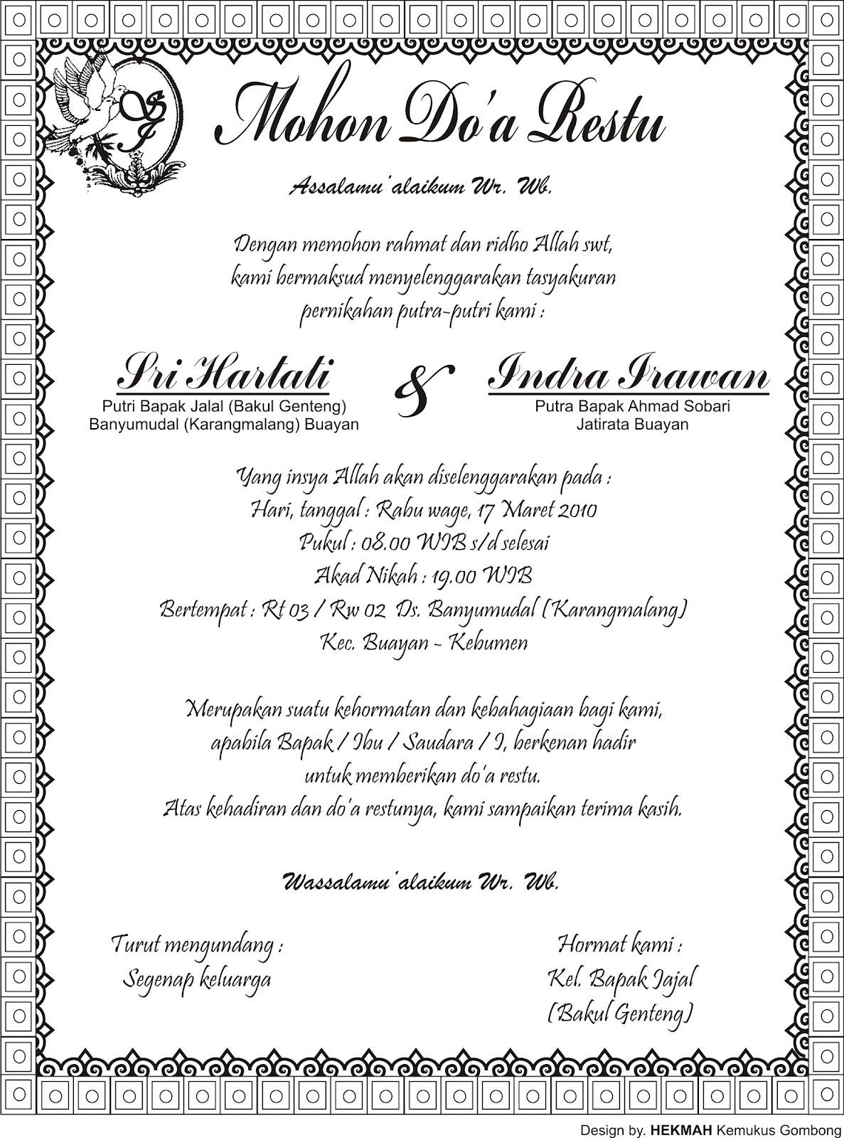 Download Undangan Tasyakuran Pernikahan ~ Harga Undangan ...