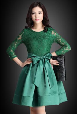 Contoh Dress Brokat Untuk Pesta Hijau Tosca