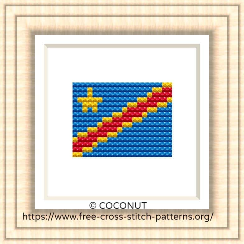NATIONAL FLAG OF THE CONGO CROSS STITCH CHART