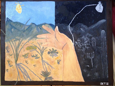Hand stretches out in the middle of the painting, palm side up. One half of the painting is a daytime desert scene showing cacti and mountains. The sun is the shape of a human heart. Roots go from the soil into the hand. The other half of the painting is a nighttime desert scene. Cacti and mountains are shown in moonlight. The moon is the shape of a human heart. A line goes from the moon into the hand.