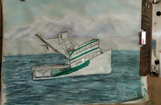 salmon fishing boat sketch by Gloria Poole of Missouri