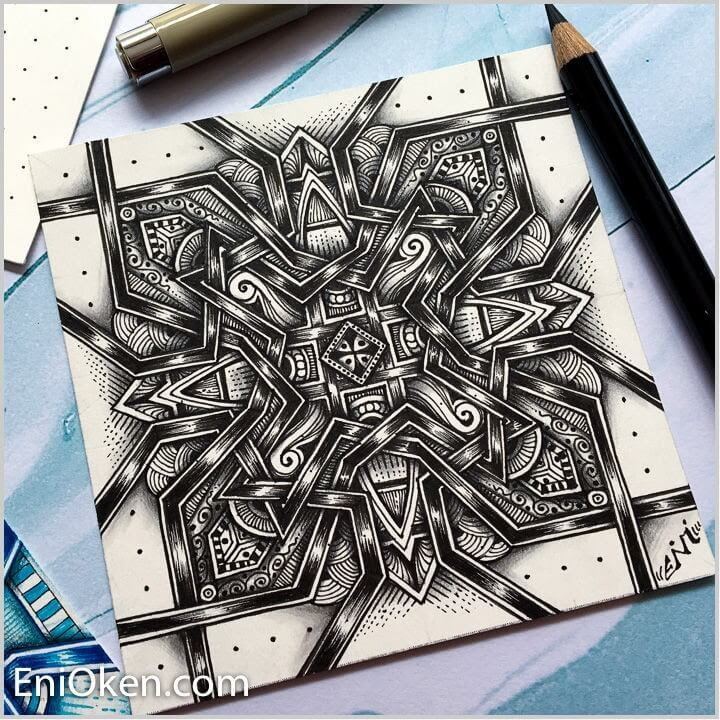 02-Square-Medallions-Eni-Oken-Ink-and-Pencil-Fantasy-and-Zentangle-Drawings-www-designstack-co
