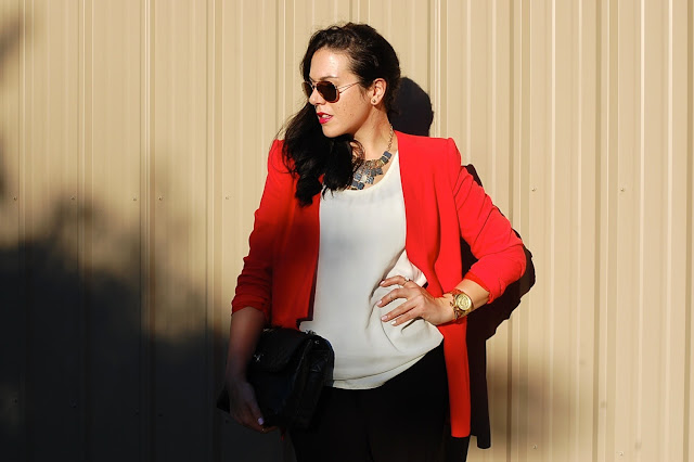 Red BCBG Max Azria blazer, H&M harem pants, Chanel ITB bag, T.Babaton tank top and Prabal Gurung for Target cage heels.