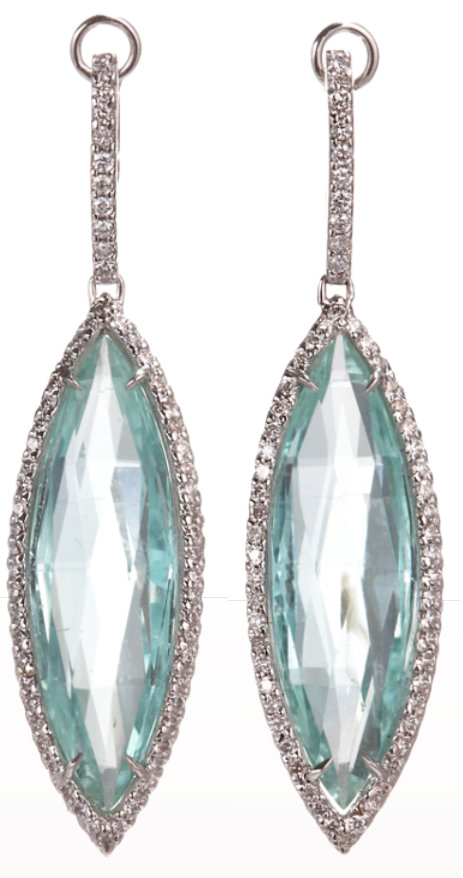 Sharon Khazzam Mint Tourmaline & Diamond Menta Earrings: Two faceted marquis-shaped mint tourmalines with double-face white diamond pave surround.