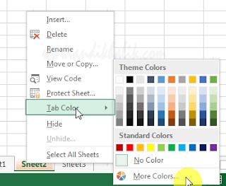 Mengubah warna tab lembar kerja Anda
