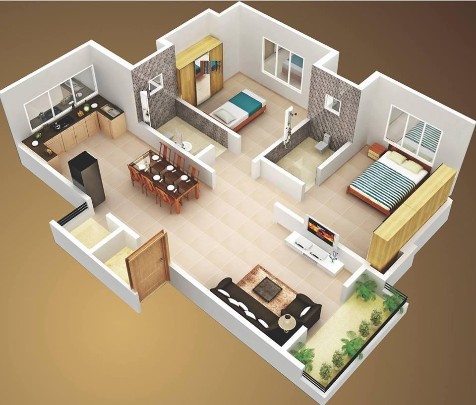 Denah rumah sangat simple dengan 2 kamar dan 2 kamar mandi & Denah rumah sangat simple dengan 2 kamar dan 2 kamar mandi ...