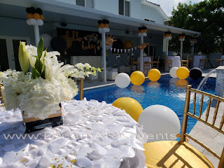 Giant balloons in swimming pool for party decoration