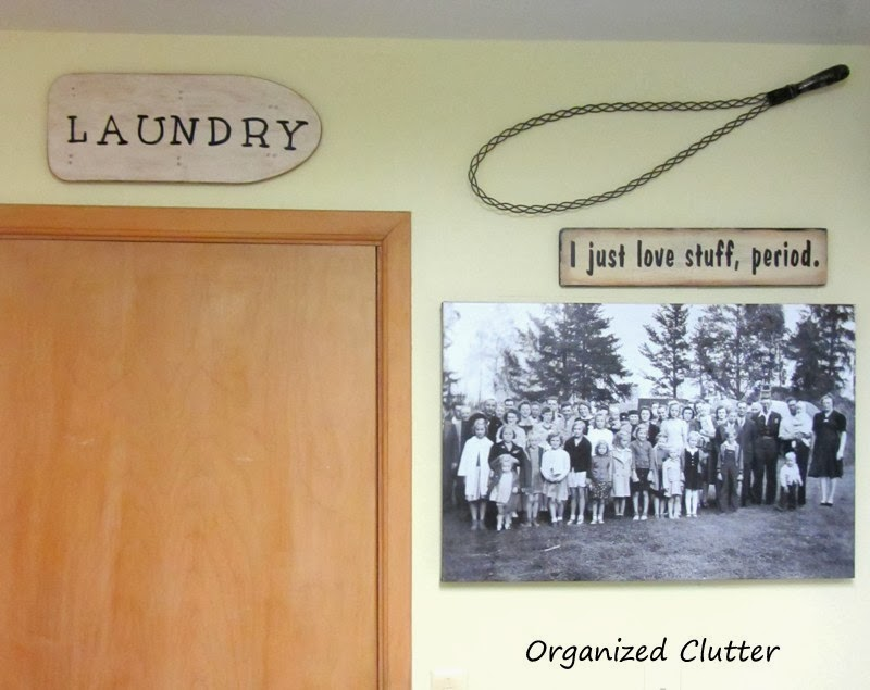 "Vintage Small Ironing Board ""Laundry"" Sign www.organizedclutterqueen.blogspot.com"