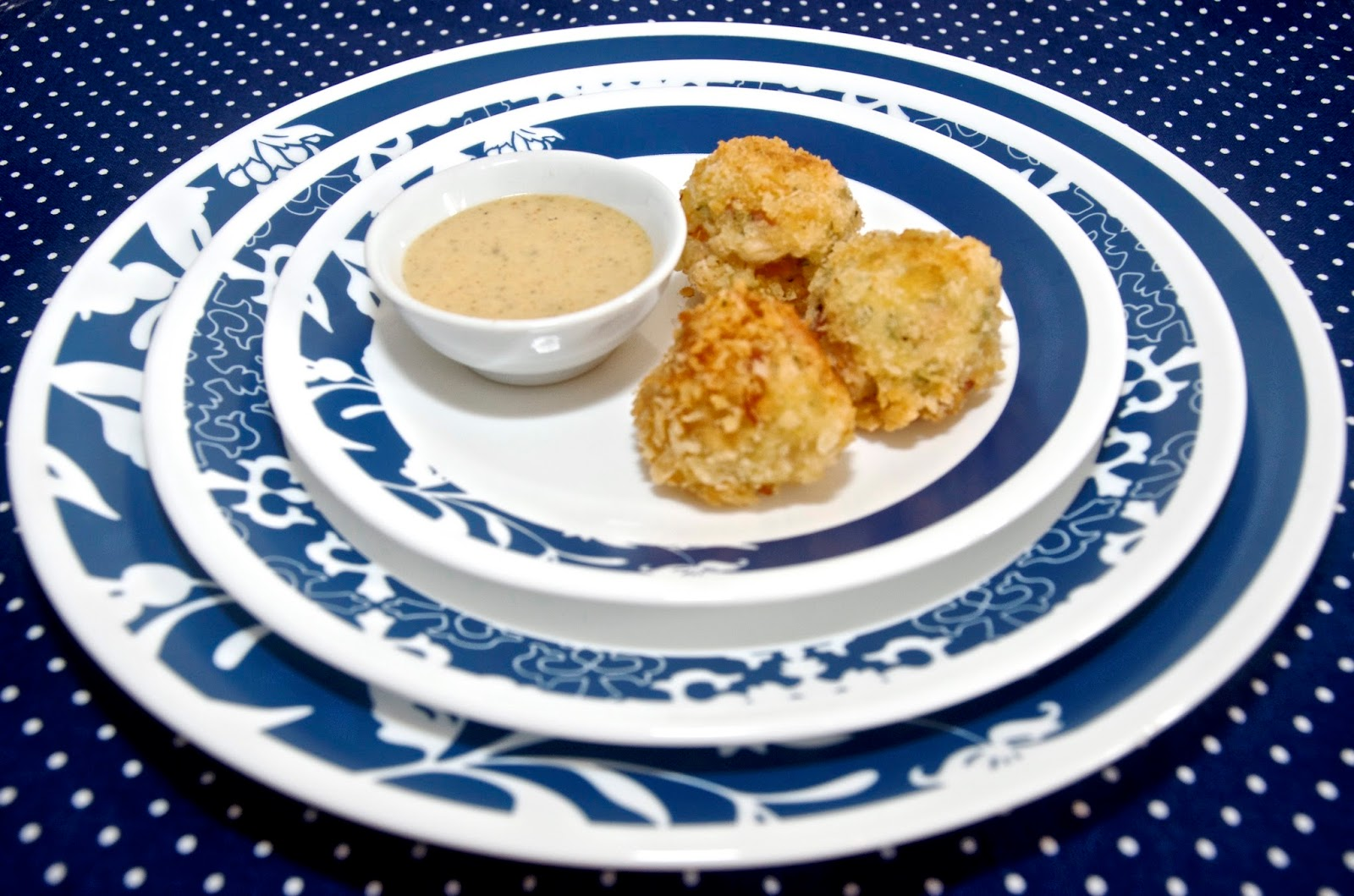Chicken and ham croquettes with spicy honey mustard dipping sauce