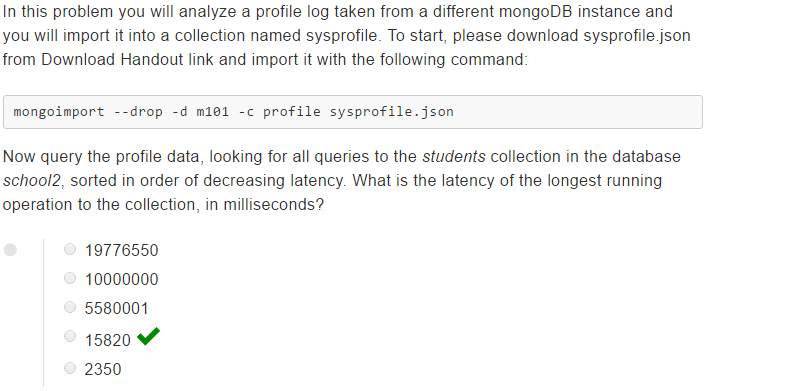 mongodb dba homework 3.1 answer