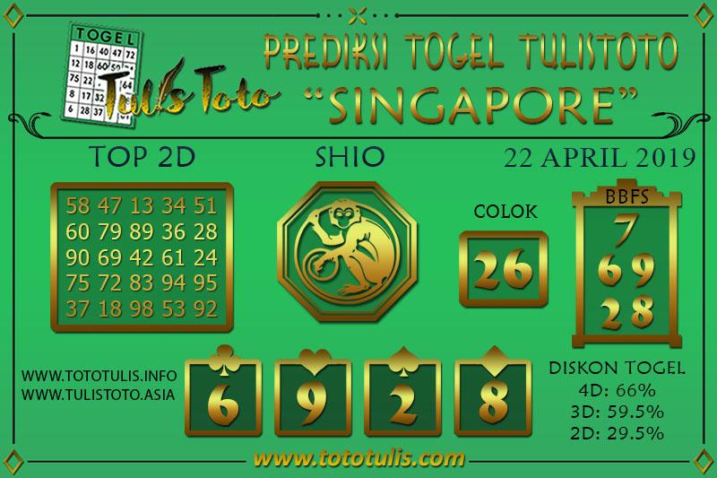 Prediksi Togel SINGAPORE TULISTOTO 22 APRIL 2019