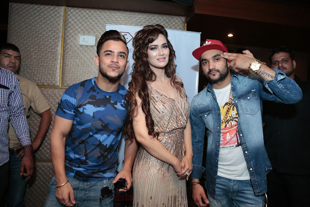 Music MG Milind Gaba, Singer Priyanka Goyat with Rapper Fazilpuria at the launch of the Jimmy Song