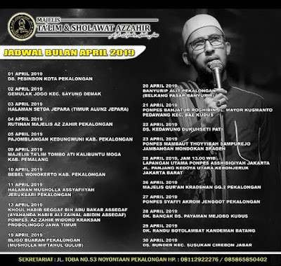 Jadwal Az Zahir Pekalongan Bulan April 2019
