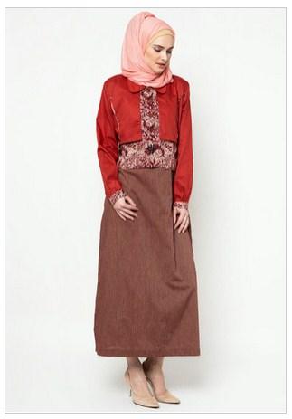 Contoh Desain Baju Muslim Dress Batik Terbaru 2016