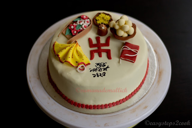 Nabo borsho themed cake art with fondant